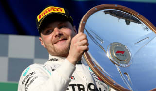 Mercedes driver Valtteri Bottas celebrates his victory at the 2019 F1 Australian Grand Prix