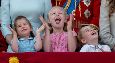 LONDON, ENGLAND - JUNE 09:Princess Charlotte of Cambridge, Savannah Phillips and Prince George of Cambridge during Trooping The Colour 2018 on June 9, 2018 in London, England. (Photo by Mark