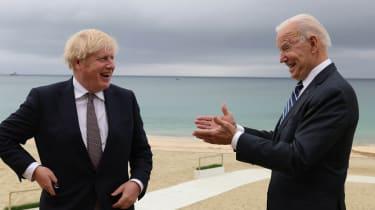 Boris Johnson and Joe Biden on the seafront in Cornwall