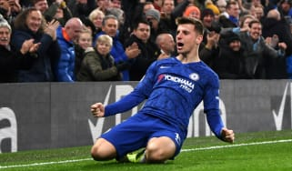 Mason Mount celebrates scoring a goal for Chelsea in the Premier League