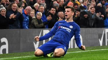 Mason Mount celebrates scoring a goal for Chelsea in the Premier League