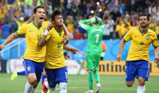 Neymar and Hernanes of Brazil