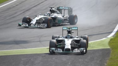 Mercedes drivers Nico Rosberg and Lewis Hamilton