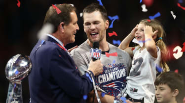 Tom Brady celebrates New England's 2019 Super Bowl win with his daughter Vivian Lake Brady