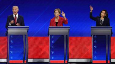Joe Biden, Elizabeth Warren and Kamala Harris