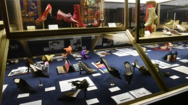 Shoes designed by Christian Louboutin are exhibited at the Christian Louboutin L'Exhibition[niste] in Paris