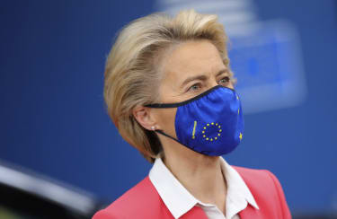 European Commission President Ursula von der Leyen wearing a mask arrives on the second day of a European Union (EU) summit at The European Council Building in Brussels on October 2, 2020. -