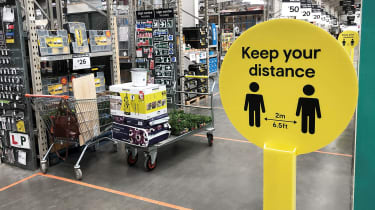 Social distancing guidance at a branch of B&Q