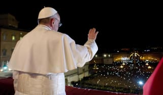 Pope Francis on the central balcony of St Peter's Basilica