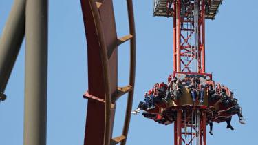 Members of the public ride Thorpe Park's 'Detonator: Bombs Away' ride