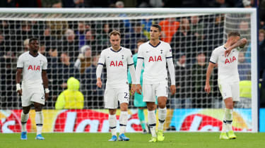 Tottenham players react after Bayern Munich score in the 7-2 Champions League rout