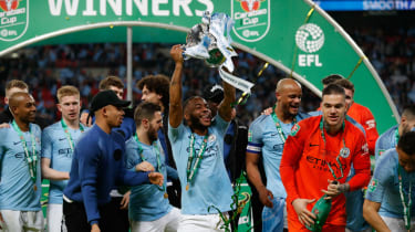 Manchester City forward Raheem Sterling celebrates after the Carabao Cup final win against Chelsea