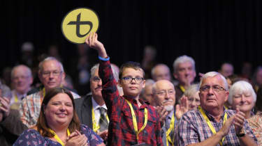 Delegates clap during the Scottish National Party (SNP) annual conference in Glasgow last year