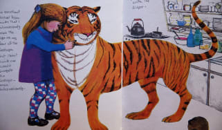 An annotated page from Judith Kerr's The Tiger Who Came to Tea