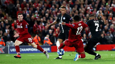 Kylian Mbappe scored for PSG in their 3-2 defeat against Liverpool on 18 September at Anfield