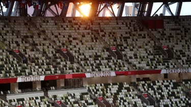 Empty seats in the Olympic Stadium in Tokyo