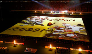 Performers take part in the Rugby World Cup opening ceremony