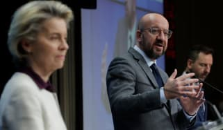 European Commission President Ursula von der Leyen and European Council President Charles Michel address reporters in Brussels