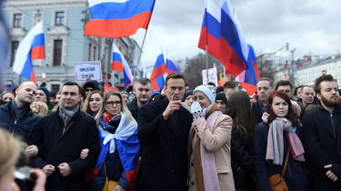Alexei Navalny, centre, during a protest in memory of the murderedKremlin critic Boris Nemtsov in February
