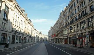A deserted Regent Street in London during the coronavirus lockdown in April 2020