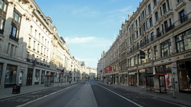 A deserted Regent Street in London during the coronavirus lockdown in April 2020