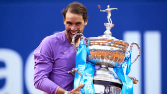 Spanish tennis star Rafael Nadal celebrates his win at the Barcelona Open