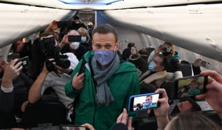 Alexei Navalny on his return to Russia from Berlin.