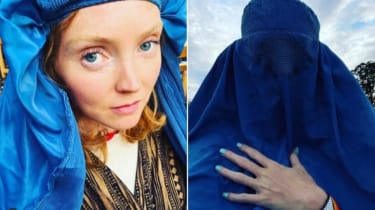 Lily Cole posing in a burqa