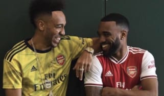 Arsenal stars Pierre Emerick-Aubameyang and Alexandre Lacazette look pleased with the Adidas shirts