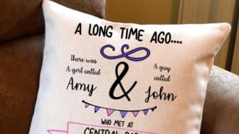 Our Romantic Story cushion from GiftsOnline4u