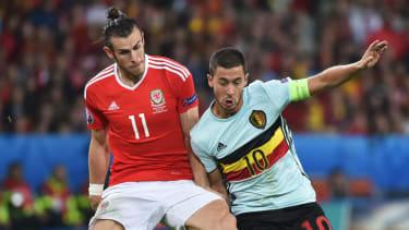 Gareth Bale (left) in action for Wales against Belgium's Eden Hazard at Euro 2016