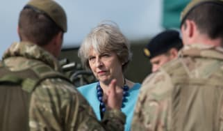 Theresa May meets troops of 1st Battalion The Mercian Regiment in Salisbury in 2016
