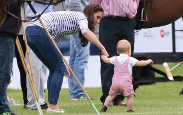 CIRENCESTER, ENGLAND - JUNE 15:Catherine, Duchess of Cambridge and Prince George of Cambridge attend the Royal Charity Polo during the Maserati Jerudong Trophy at Cirencester Park Polo Club o