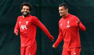 Liverpool forward Mohamed Salah and defender Dejan Lovren in training at Melwood on Tuesday