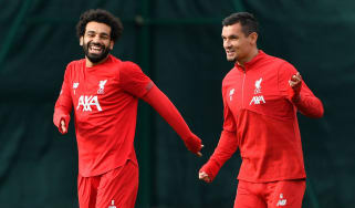 Liverpool forward Mohamed Salah and defender Dejan Lovren in training at Melwood on Tuesday
