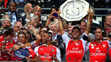 Arsenal celebrate with the FA Community Shield at Wembley