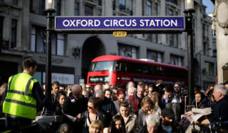 Commuters at Oxford Circus tube station during 48-hour strike