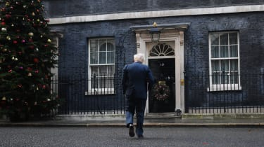 Prime Minister Boris Johnson returns to Downing Street following a Cabinet Meeting at the FCO