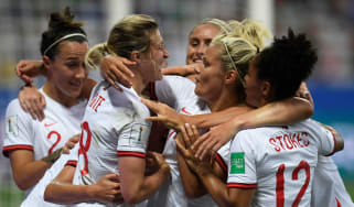 England players celebrate Ellen White's opening goal against Japan in the Women's World Cup