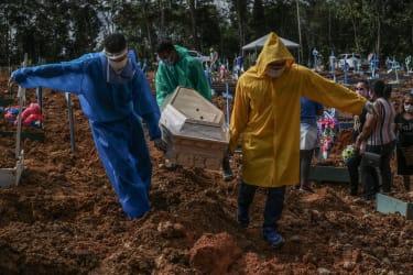 Gravediggers bury a Covid victime in Manaus, Brazil
