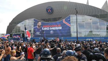 PSG fans gather outside the club's Parc des Princes stadium
