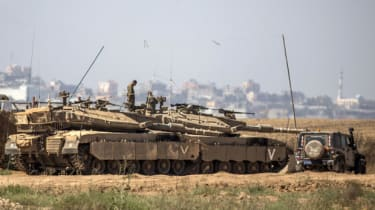 Israeli tanks on the border of the Gaza Strip