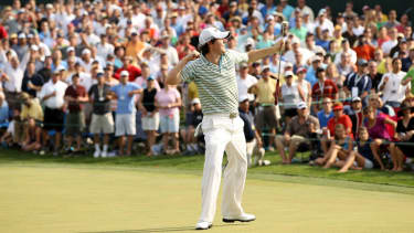 Rory McIlroy celebrates his victory at the Quail Hollow Championship on 2 May 2010