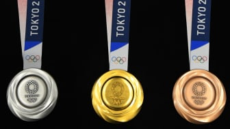 The Tokyo 2020 silver, gold and bronze medals
