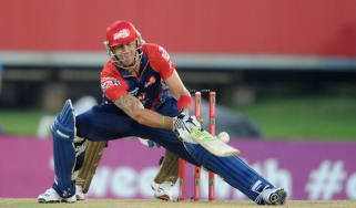 PRETORIA, SOUTH AFRCA - OCTOBER 13:Kevin Pietersen of the Daredevils bats during the Karbonn Smart CLT20 Group A match between Kolkata Knight Riders (IPL) and Delhi Daredevils (IPL) at SuperS