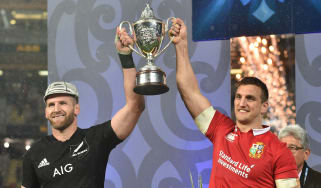 Kieran Read and Sam Warburton share the spoils after the tied final Test between the All Blacks and the Lions