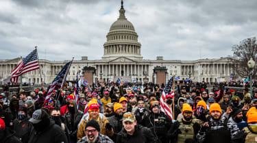 Pro-Trump protesters gather in front of the US Capitol Building.