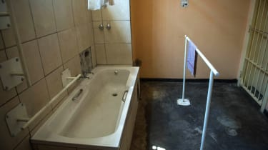 A picture taken on December 1, 2015 shows the bathroom of the prison cell where Oscar Pistorius stayed, at the Kgosi Mampuru II Prison on December 1, 2015 in Pretoria, South Africa.South Afri