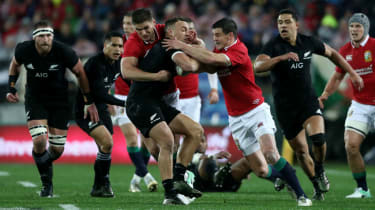 Owen Farrell and Johnny Sexton in action for the British & Irish Lions against New Zealand in 2017