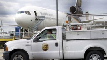 UPS van and plane